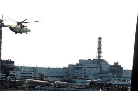 Černobylio atominė elektrinė po tragedijos.