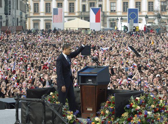 Obamos kalba Prahoje.