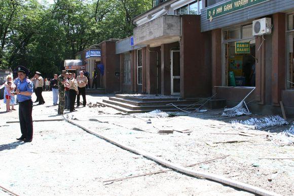 Bankas po sprogimų.