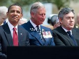 """AFP/""""Scanpix"""" nuotr./Barackas Obama, princas Čarlzas ir Gordonas Brownas Normandijoje"""