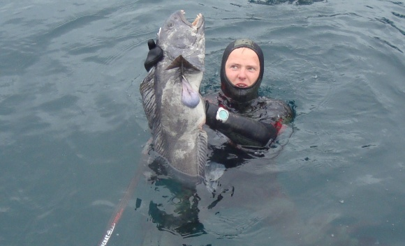 Vytauto pagautas jūrų vilkas svėrė 8 kg.