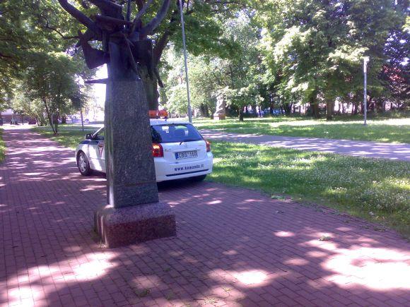 Fotopolicija. Apsauga skulptūrų parke.