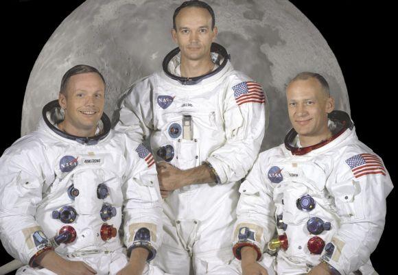 Legendinė Apollo 11 įgula: astronautai Neilas Armstrongas (kairėje), Edwinas Buzzas Aldrinas (dešinėje), Michaelas Collinsas.