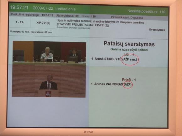 Seimo posėdžių salėje esančiuose ekranuose rodoma Ąžuolo frakcijos santrumpa - su klaida.