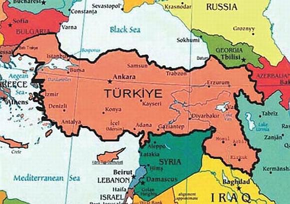 """""""Padidintos"""" Turkijos žemėlapis"""