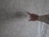Sauliaus Chadasevičiaus/15min.lt nuotr./J.Grabauskas rodo, kaip atrodo siena, nutinkuota naudojant abejotinos kokybės kalkes.