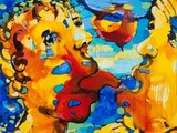 """Paveikslo fragmentas/Vilmanto Marcinkevičiaus paveikslas tema """"Friends"""" (Draugai)"""