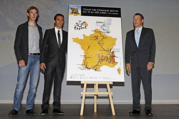 A.Schleckas, A.Contadoras ir L.Armstrongas pristato kitų metų lenktynes Prancūzijoje