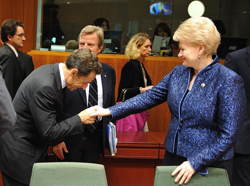 Dalia Grybauskaitė ir Prancūzijos vadovas Nicolas Sarkozy