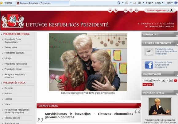 Apie prezidentės veiklą informuojama oficialiame tinklalapyje.