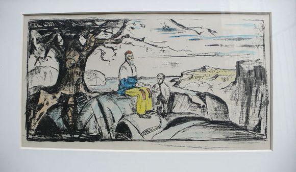 """Norvegų dailininko Edvardo Muncho litografija """"Historien"""""""