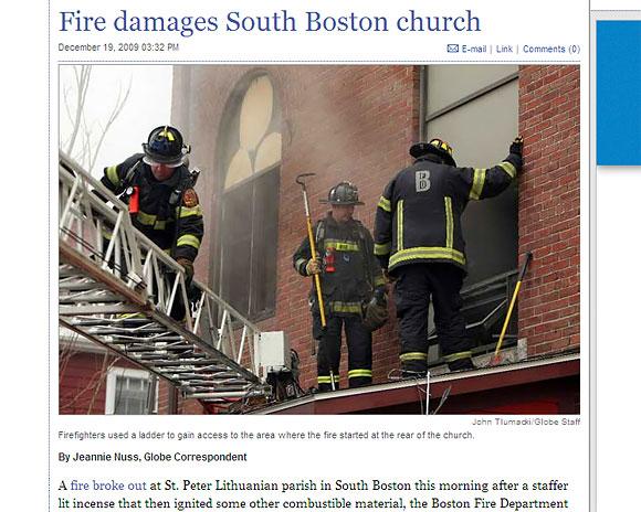 Gaisras lietuvių bažnyčioje Bostone