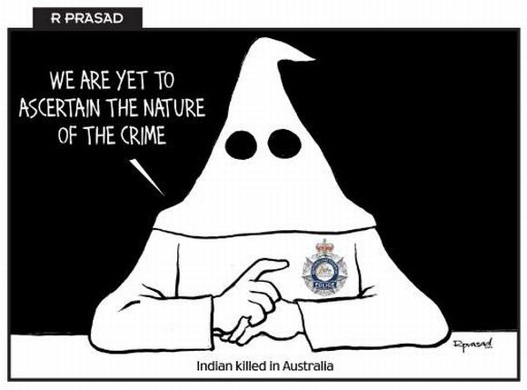 """Australijos policininkus papiktino rasistinė karikatūra Indijos dienraštyje """"Mail Today""""."""