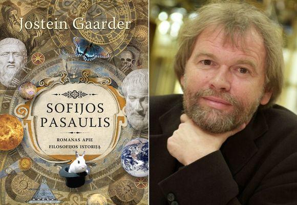 """Knyga """"Sofijos pasaulis"""" ir jos autorių Josteinas Gaarderis."""