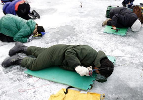 Žvejojimas gulint ant ledo