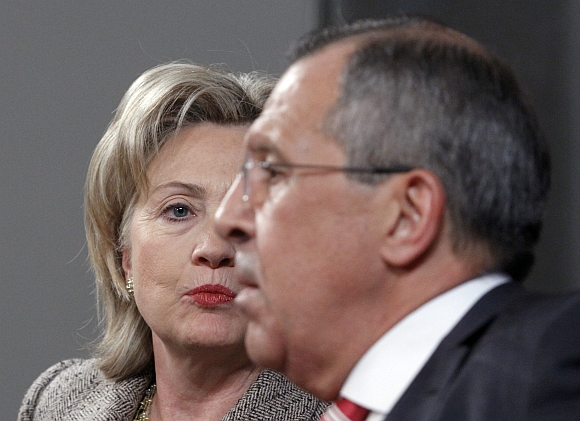 Hillary Clinton ir Sergejus Lavrovas