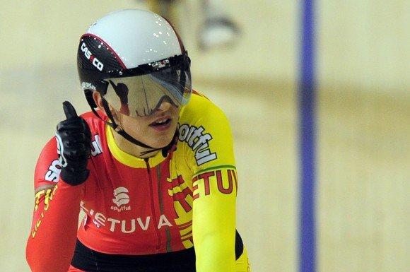 AFP/Scanpix nuotr./S.Krupeckaitė planetos treko dviračių pirmenybėse Kopenhagoje jau yra iakovojusi tris apdovanojimus