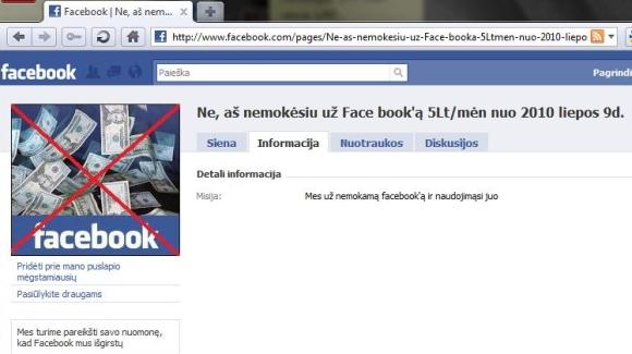 """""""Facebook"""" apmokestinimas."""