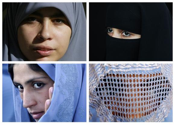 Musulmonių apdarai: hidžabas (kairėje viršuje), nikabas (dešinėje viršuje), čadra (kairėje apačioje) ir burka