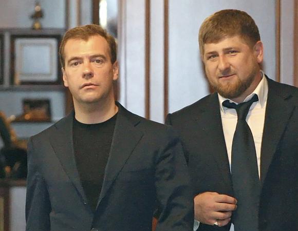 Dmitrijus Medvedevas ir Ramzanas Kadyrovas