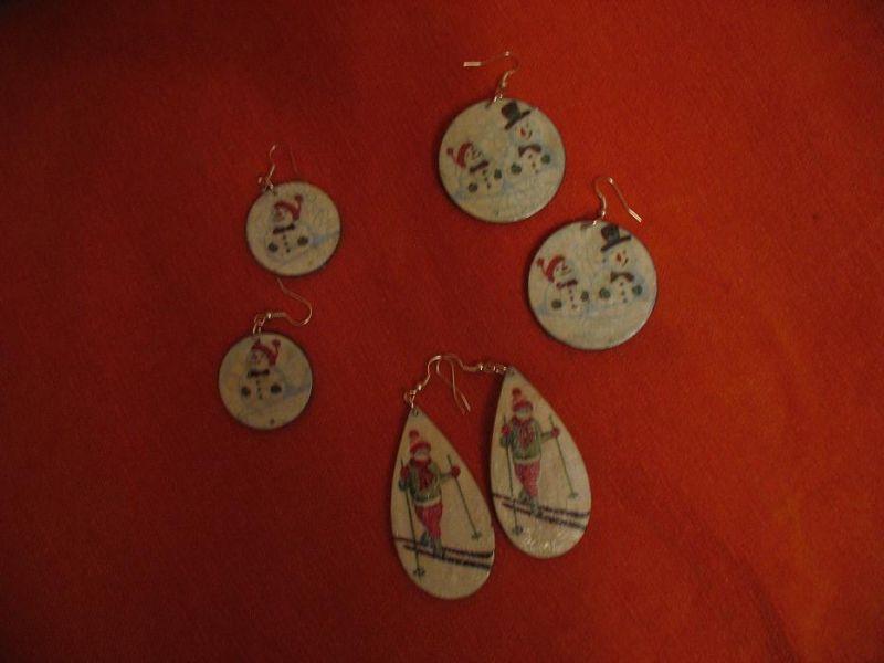 Kalėdiniai dekupažo auskarai