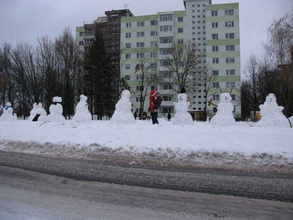 Sniego senių alėja viename iš Kauno gyvenamųjų rajonų