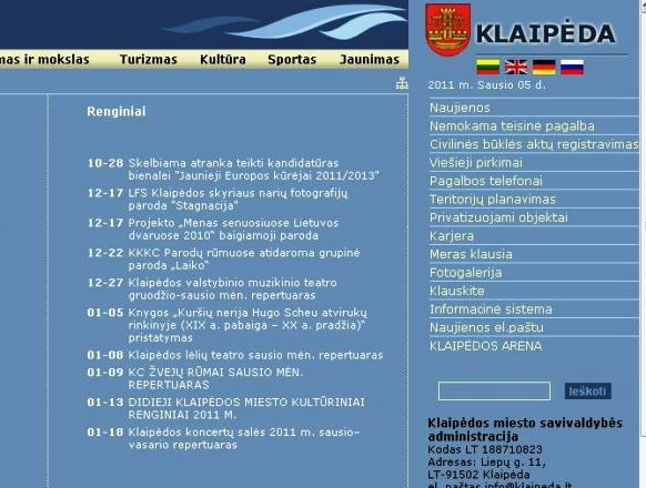 Klaipėdos miesto savivaldybės tinklalapis nesikeičia jau kelerius metus.