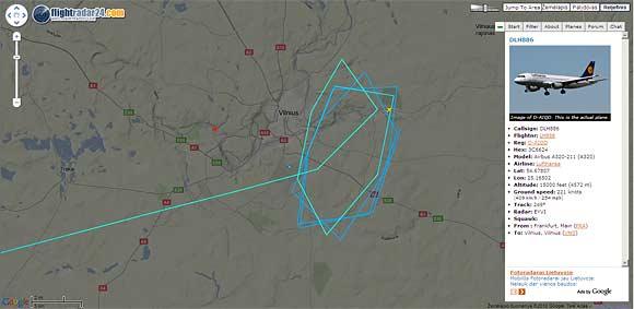"""Internete buvo galima stebėti, kaip bendrovės """"Lufthansa"""" orlaivis suko ratus virš Vilniaus"""