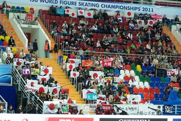 Reuters/Scanpix nuotr./Maskvos ledo rūmuose Japonijos čiuožėjai sulaukė milžiniako palaikymo.