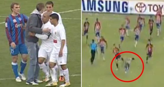 Rusijoje (kairėje) futbolininkai su įsibrovėliu glėbesčiavosi, o Kolumbijoje – puolė spardyti.