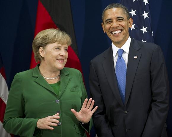 Vokietijos kanclerė Angela Merkel (kairėje) ir JAV prezidentas Barackas Obama