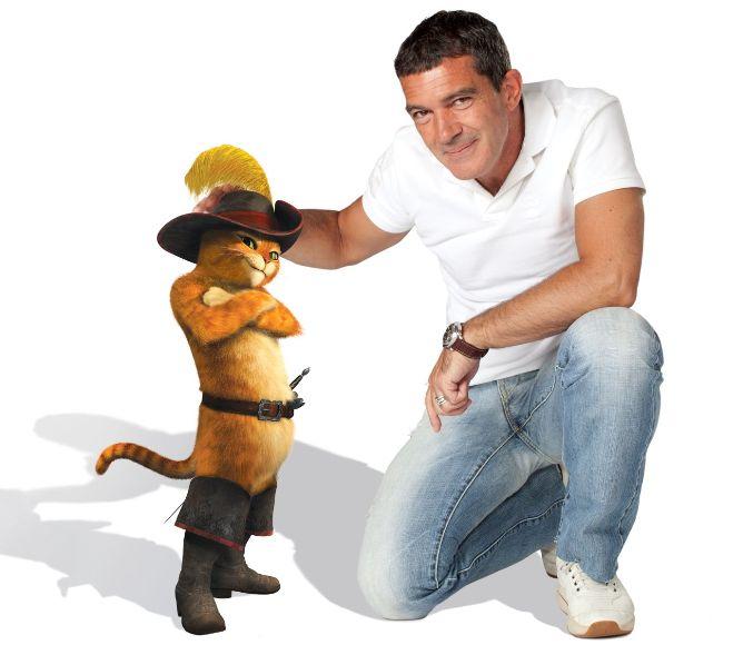 Batuotas katinas Pūkis ir Antonio Banderasas