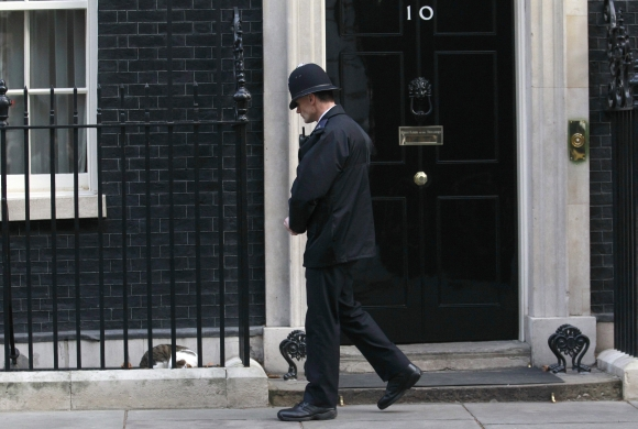 Didžiosios Britanijos premjero rezidenciją saugantis policininkas stebi miegantį katiną Larry.