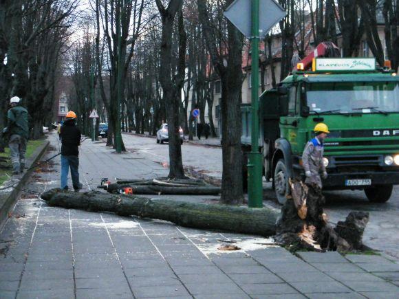 Uragano padariniai Klaipėdoje