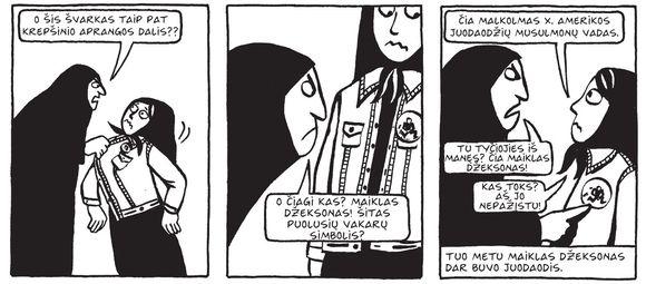 """Komiksų knygos """"Persepolis"""" fragmentas"""