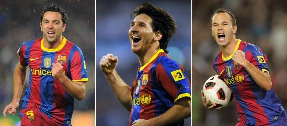 Xavi, L.Messi ir A.Iniesta