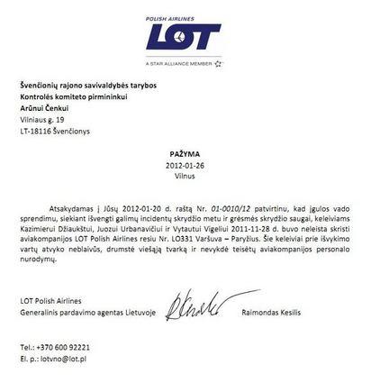 """Laidos """"Akistata"""" nuotr. /Oro linijų """"LOT Polish Airlines"""" laiškas"""