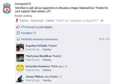 15min.lt nuotr./Liverpool sveikinimas lietuviams