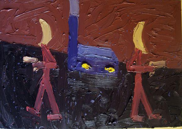 """Pamėnkalnio galerijos nuotr./Alono `telmano paveikslas """"Fabriko apsauga"""". 2011"""