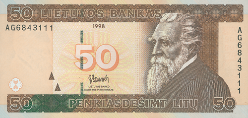 Ray Bartkaus sukurtas 50 litų banknotas