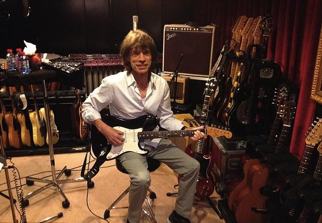 Mickas Jaggeris įrašų studijoje Prancūzijoje