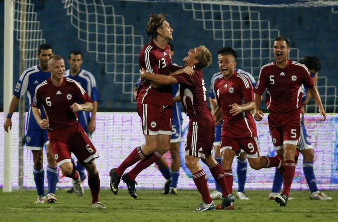 AFP/Scanpix nuotr./Latvijos futbolo rinktinė