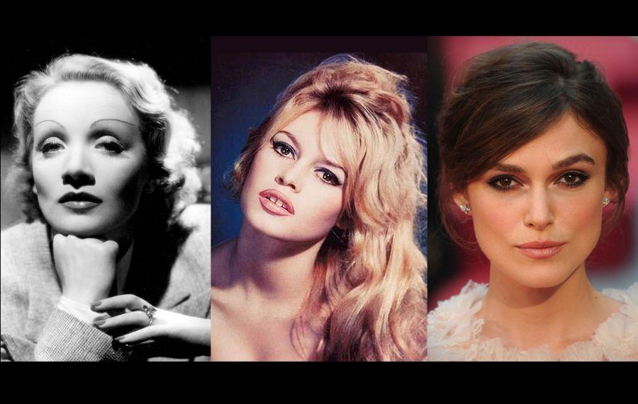 Antakių mados. Iš kairės į dešinę: Marlene Dietrich, Brigitte Bardot, Keira Knightley