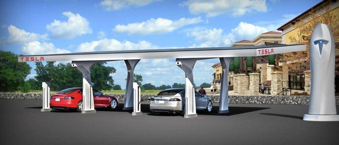 Gamintojo nuotr./Tesla Supercharger kroviklių stotis