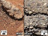 NASA nuotr./Marso (kairėje) ir Žemės grunto palyginimas