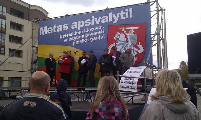 Liepos Želnienės nuotr./Mitinge iakeltas nepageidaujamas plakatas
