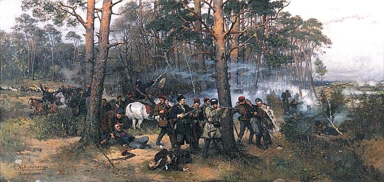"""Tadeuszo Ajdukiewicziaus paveikslas """"1863 metų sukilimo mūšis"""" (1875 m.)"""