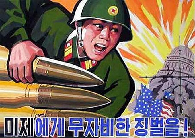 Propagandinis Šiaurės Korėjos plakatas