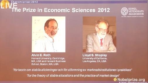 Nobelio ekonomikos premijos laureatai 2012