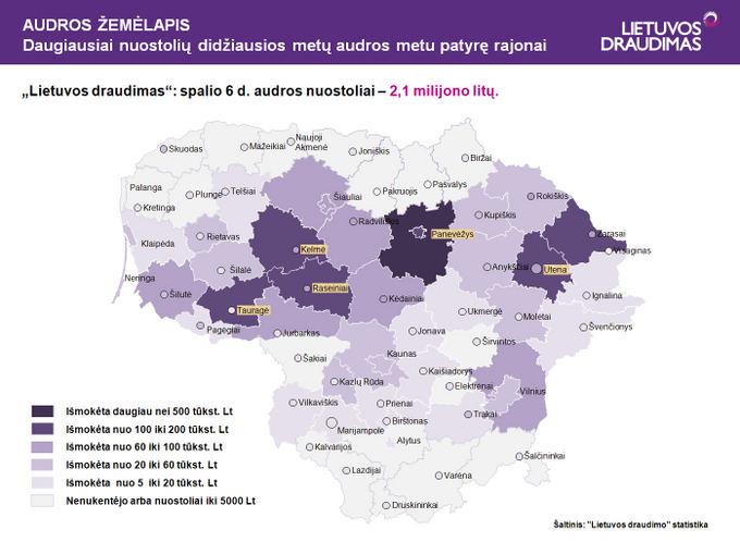 Lietuvos draudimo nuotr./Audrų žemėlapis